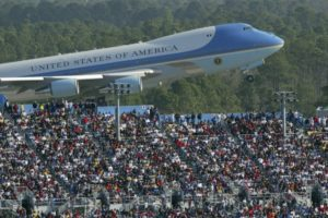 Trump Makes An Entrance: Air Force One, Swoops Over Daytona 500 Crowd
